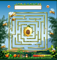 Bees and beehive maze game vector