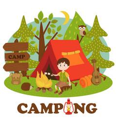 Boy near bonfire in summer camp vector