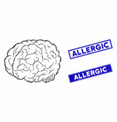 Brain mosaic and grunge rectangle allergic stamp vector