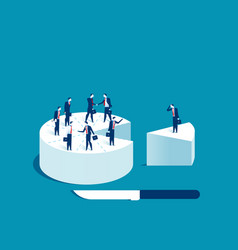 Businessman people standing on cake vector