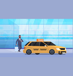 Businessman using mobile app ordering taxi vector