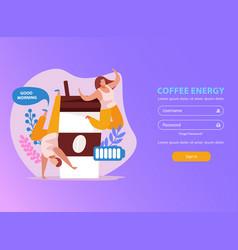 caffeine stimulating effect website vector image