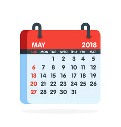 Calendar for 2018 year full month may icon vector