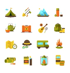 Camping Hiking Adventure Flat Icons Set vector image