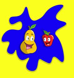 cartoon apple and pear vector image