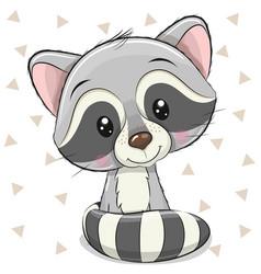 Cartoon raccoon on a white background vector