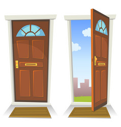 Cartoon red door open and closed vector