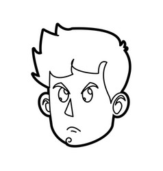 Character face head boy angry outline vector