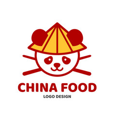 China food panda and chopsticks in hat vector