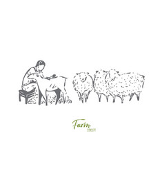 Collecting wool concept sketch isolated vector