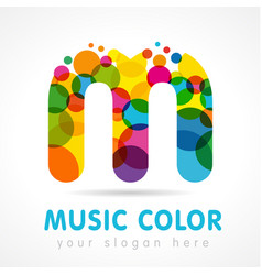 colored music m logo vector image