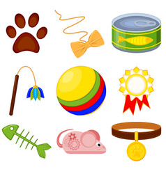 colorful cartoon 9 cat care elements set vector image