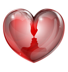 couple faces heart vector image