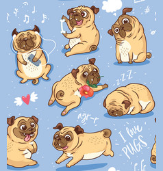 cute funny pug pupies seamless pattern background vector image