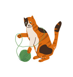 cute three color cat playing with tangle yarn ball vector image