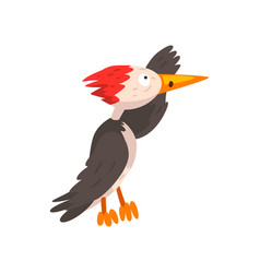 Cute woodpecker looking into the distance funny vector