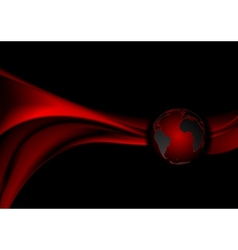 Dark red technology background with waves vector image