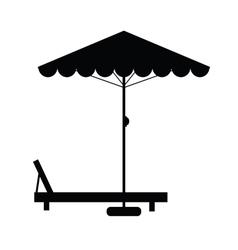 Deckchair and umbrella vector