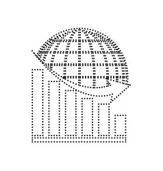 Declining graph with earth black dotted vector