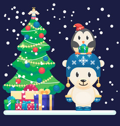 decorated christmas tree and gifts cute polar vector image