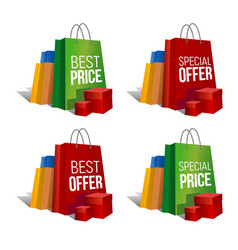 Discount signs set of paper shopping bags vector