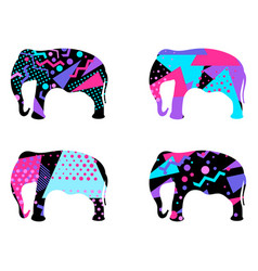 Elephant with a pattern of geometric shapes vector