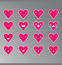 Emoticons heart color 20 vector