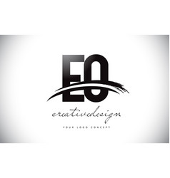Eo e o letter logo design with swoosh and black vector