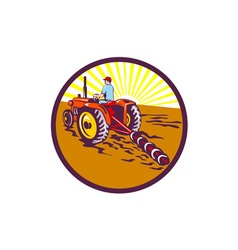 Farmer On Tractor Circle Retro vector