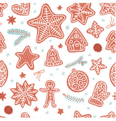 flat hand drawn seamless pattern for christmas vector image