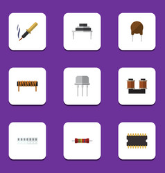 Flat icon device set of bobbin destination vector