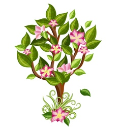 flower tree with glossy leaves vector image