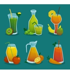 Fresh Juice And Fruits Icons Set vector image vector image
