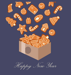 gingerbread cookies happy new year and christmas vector image