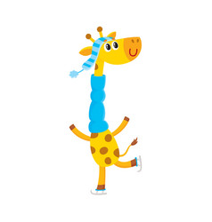 Giraffe character ice skating winter activity vector