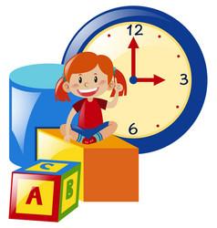 girl sitting on yellow box vector image