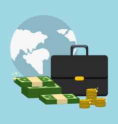 Global with suitcase and green bill and coins vector