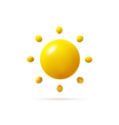 Glossy sun icon in minimal cartoon style vector