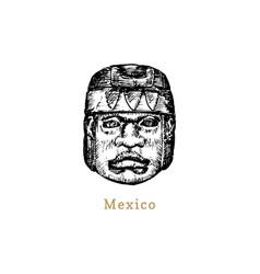hand sketched olmec stone head vector image
