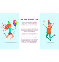 happy birthday greeting card redhead man and woman vector image