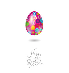 happy easter card egg pink vector image