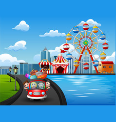 happy family riding a car to go on vacation vector image