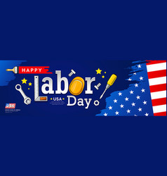 happy labor day flag america brush stroke vector image