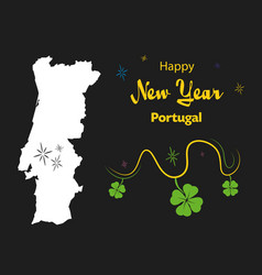 Happy new year theme with map of portugal vector