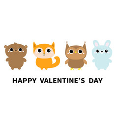 Happy valentines day forest animal toy icon line vector