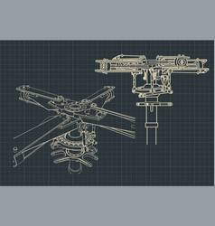 Helicopter main rotor blueprint vector