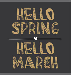 Hello spring hello march quote collection vector