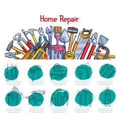 Home repair sketch poster of work tools vector