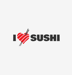 I love sushi logo vector