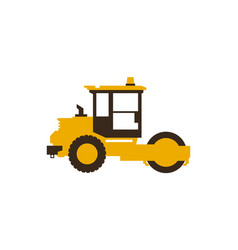 Icon paver men at work construction machinery vector
